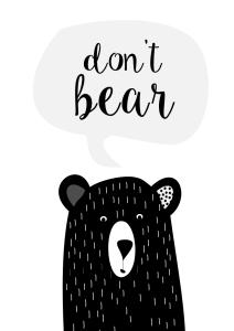 plakaty czarnobiale dla dzieci bear
