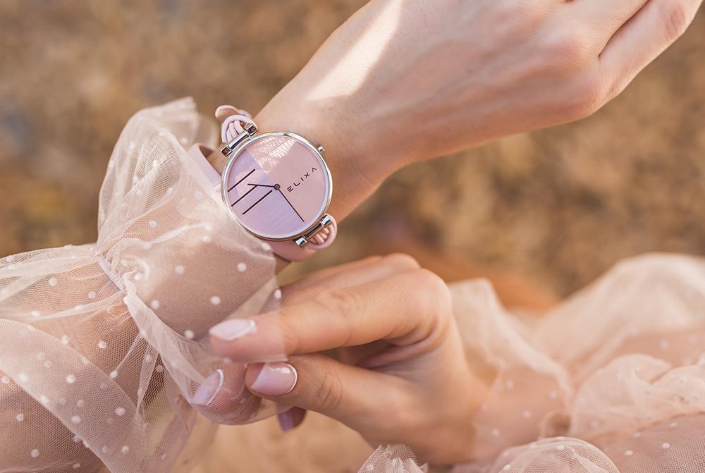 rozowy zegarek damski
